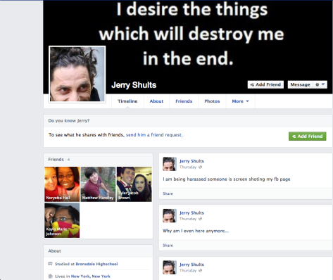 The group had to use clues from the text to create Jerry's Facebook page.